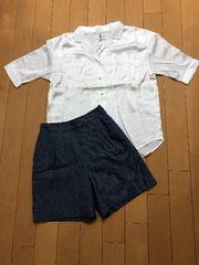 新品!WEGO サテン開襟五分袖シャツ。