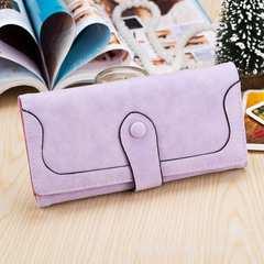 1円新品☆ふわふわ手触り三つ折りレディース長財布パープル紫レディース