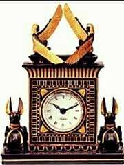 エジプト 置時計 アヌビス神 & イシス女神?置物 オブジェ 時計