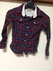 チェックシャツ/長袖シャツ/110cm