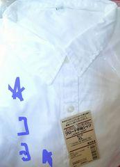 無印良品 オーガニックコットン洗い〜�A ブロード半袖シャツ白XL
