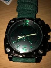 ワンピース スカル スクエア腕時計デニム ベルト 緑