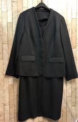 新品☆3L薄手素材の黒アンサンブルスーツ通勤・セレモニー☆s787