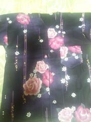 ☆新品処分品濃紫×ピンクバラ柄=ダボシャツ110