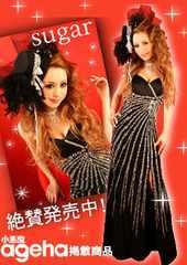激安!ももえり着agehaキャバホステス豪華ビーズキラキラ黒ドレス