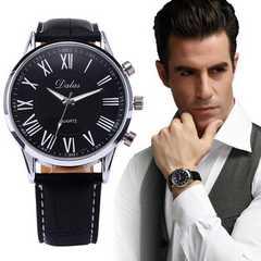 腕時計 ギリシャ文字 クォーツ高品質レザー ベルト ウォッチ 黒