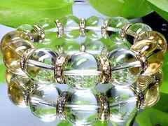 パワーストーン☆天然石!!水晶16ミリ金ロンデル数珠ブレスレット§浄化・才能開花