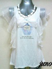 minirdeesシースルードットチュールフリルバタフライ半袖リボンパフュームTシャツカットソー白紫
