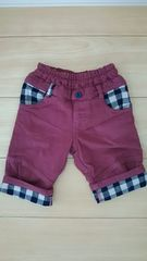 ラキエーベ キムラタン 7〜8分丈パンツ サイズ90 赤紫色 ブロックチェック
