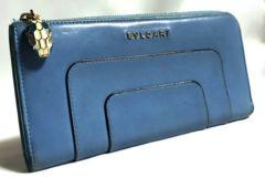 正規 BVLGARIブルガリ セルペンティ スネーク装飾 L字型ジップ長財布 ライトブルー