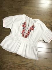 マカフィー トゥモローランド 花柄刺繍ホワイト白ブラウス