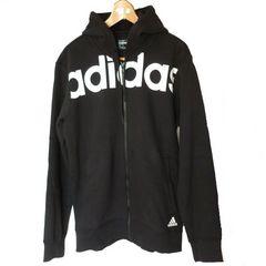 新品◆定価7128円 adidas黒でかロゴフルジップパーカー(L)