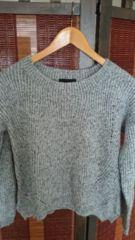 ■冬物美品JEANASISグレーミックス裾変形ニットソー■
