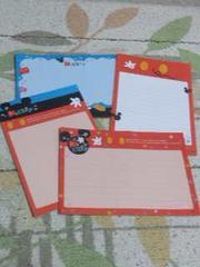 【バラ売り】ハガキサイズ メモ帳 4種類×5枚 ミッキーマウス