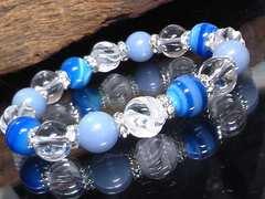 スクリュー水晶ブルーストライプアゲート銀ロンデル数珠