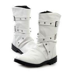 ベルトロングブーツ/シューズ靴/お兄系ホストメンナクオラオラ系悪羅悪羅系/78白26.5
