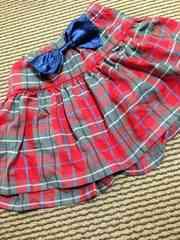 JENNI・チェック柄インナーパンツ付スカート・赤140