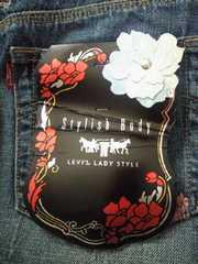 LEVI'S リーバイス LADY STYLE デニム ジーンズ ミニスカート ストーン 刺繍 27 青