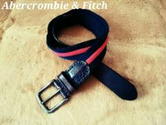 【Abercrombie & Fitch】Vintage レザー×コットン コンビベルト 30/Red