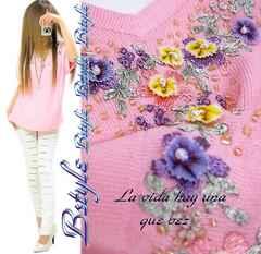 NEW最新デコルテ袖お花柄刺繍ビーズ散りV衿キレイメsummerニット3971