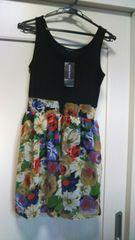 新品タグ付き4935円South Drive シフォン薔薇花柄スカートドレス
