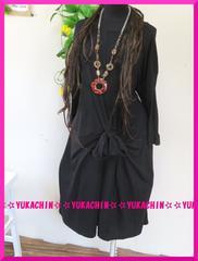 秋新作◆大きいサイズ3Lブラック◆前結びデザイン◆ロングチュニック