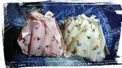 Mサイズ 小花 Tバック ショーツ2枚セット パンティー ピンク クリームイエロー