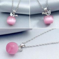 送料無料★天然猫目石のリンゴがかわいい ネックレス ピンク 赤