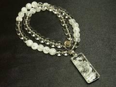 オーラの浄化 浮彫龍水晶プレート&本水晶&クラック数珠ネックレス