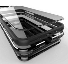黒 iPhone8ケース 8plusケース アルミ合金 シリコン 二重保護