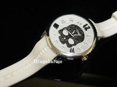 新品☆ジルコニア ラバー スカル腕時計 ホワイト 白
