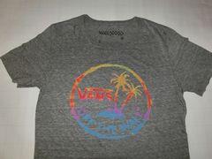 USA購入【VANS】穴あき加工 ヤシの木ロゴプリントTシャツUS S 灰
