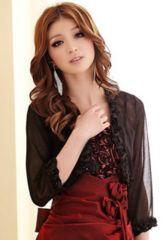 新品【6356】XL(大きいサイズ)黒シフォンの七分袖ボレロ