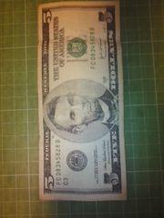 アメリカ5ドル紙幣(2003年C券)♪