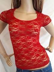 CLASS レース 透け素材 Tシャツ 赤 レッド