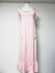 伊勢丹ルームウェアベビーピンク白ボーダーリボンマキシOP妊婦