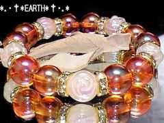 天然石★薔薇彫Fローズクォーツ&オレンジフラッシュ水晶数珠