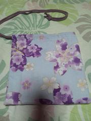 ☆新柄薄紫×大桜柄ナナメ掛巾着袋