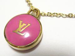 ルイ.ヴィトンのピンクLVロゴ&ゴールドカラー高貴で可愛い極上ブランドネックレス