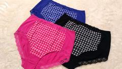 4Lショーツ3枚セット☆チェック柄3色★ピンクブラックブルー新品