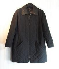 size48 フェラガモ レザー使い 内綿入りキルティングコート