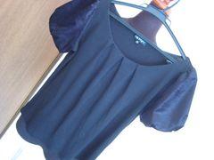 インディヴィ/INDIVIサイズ05☆黒・袖異素材バルーン♪