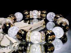 天然石★12ミリ十二支守本尊梵字黒瑪瑙&爆裂水晶数珠