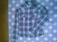 薄紫×グレー チェックシャツ 金色ラメライン入☆