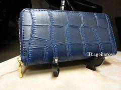 新品 ファスナー長財布 ブルー クロコダイル型押 合皮