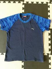 プーマPUMA★カッコイイ半袖Tシャツ(130/ネイビー×青柄)