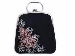 和柄刺繍がま口ポーチ(お化粧コスメ小物入れ)財布・スマホケース黒地乱菊