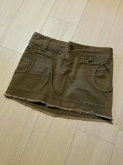 EGOIST☆裾フリンジ、ミニスカート、カーキ