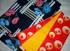 垣根花紋様の浴衣と蝶々麻の葉紋様の小袋帯