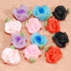 ★デコパーツ★7ミリ樹脂粘土薔薇★フラワー★6色12個